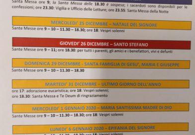 FESTIVITA' NATALIZIE 2019-20